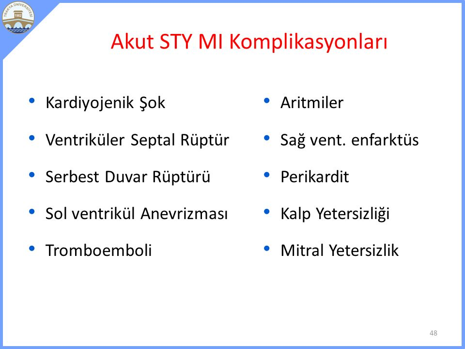 Akut STY MI Komplikasyonları