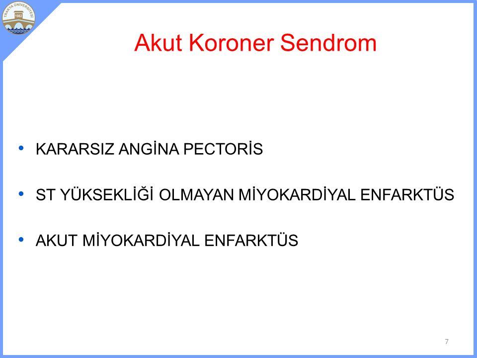 Akut Koroner Sendrom KARARSIZ ANGİNA PECTORİS