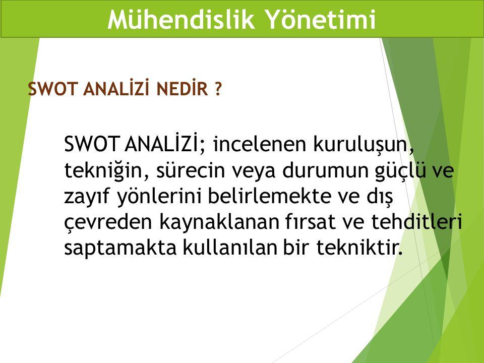 Mühendislik Yönetimi SWOT ANALİZİ NEDİR
