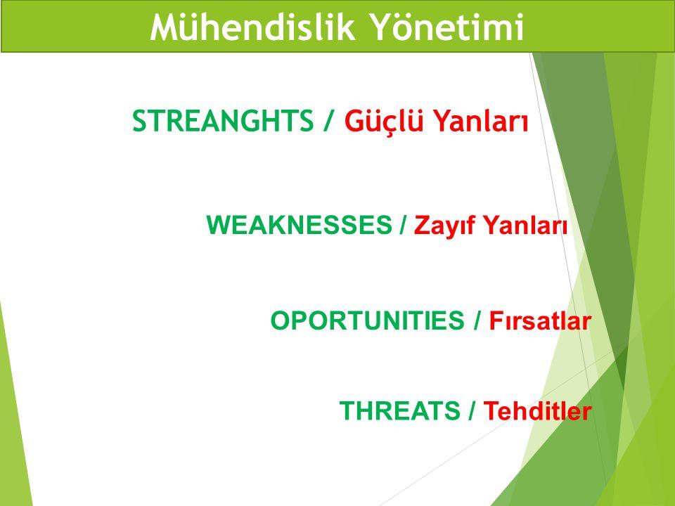 Mühendislik Yönetimi STREANGHTS / Güçlü Yanları