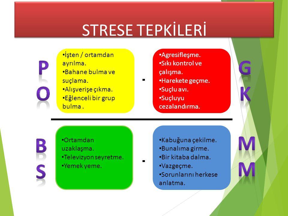 STRESE TEPKİLERİ •İşten / ortamdan ayrılma. •Bahane bulma ve suçlama.