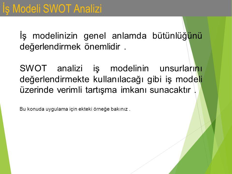 İş Modeli SWOT Analizi İş modelinizin genel anlamda bütünlüğünü değerlendirmek önemlidir .