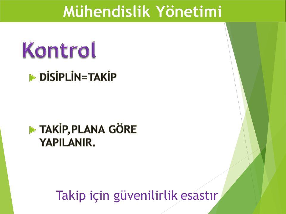Kontrol Mühendislik Yönetimi Takip için güvenilirlik esastır