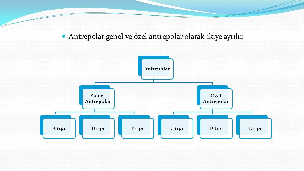 Antrepolar genel ve özel antrepolar olarak ikiye ayrılır.