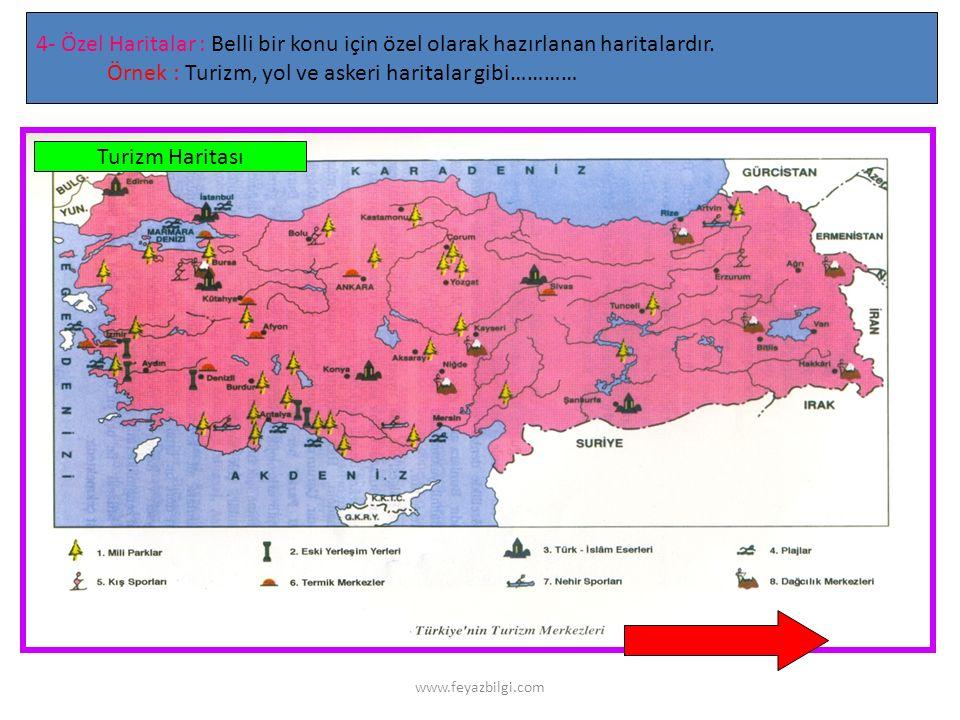 Örnek : Turizm, yol ve askeri haritalar gibi…………