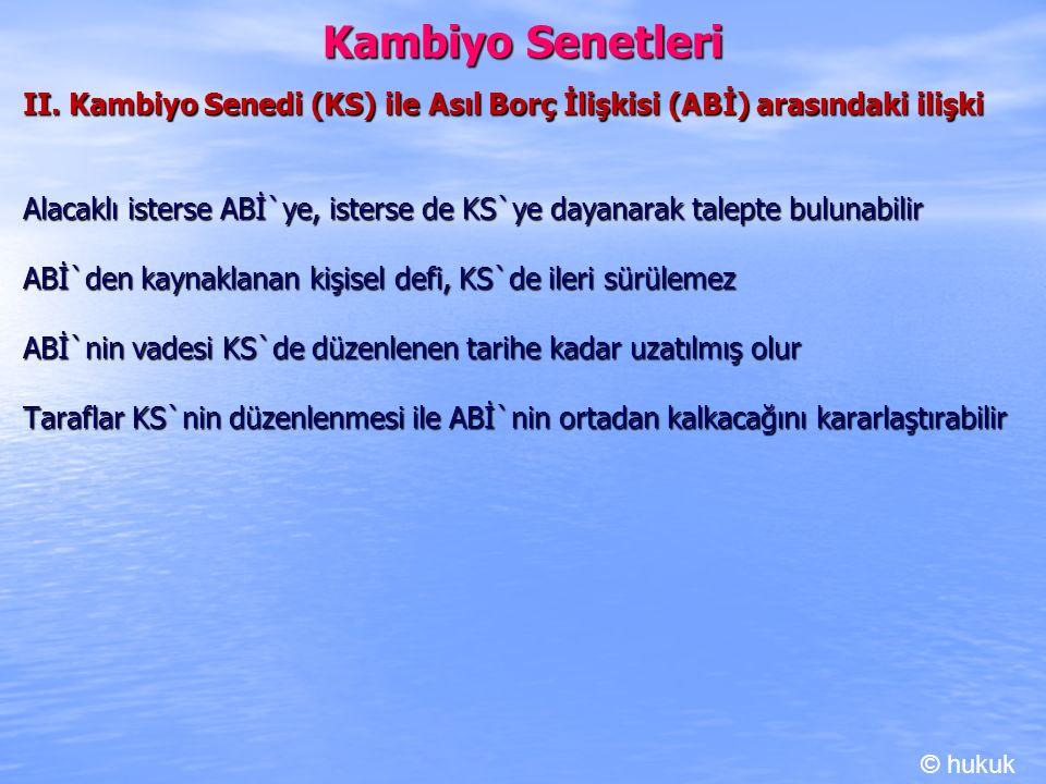 Kambiyo Senetleri II. Kambiyo Senedi (KS) ile Asıl Borç İlişkisi (ABİ) arasındaki ilişki.