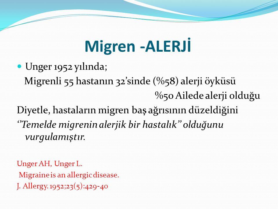 Migren -ALERJİ Unger 1952 yılında;