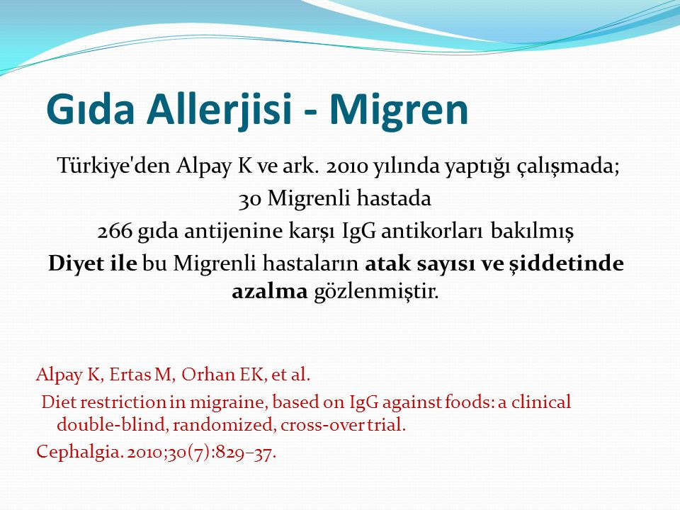 Gıda Allerjisi - Migren