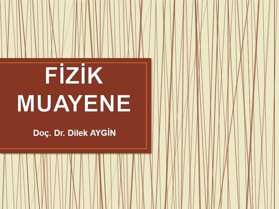 FİZİK MUAYENE Doç. Dr. Dilek AYGİN