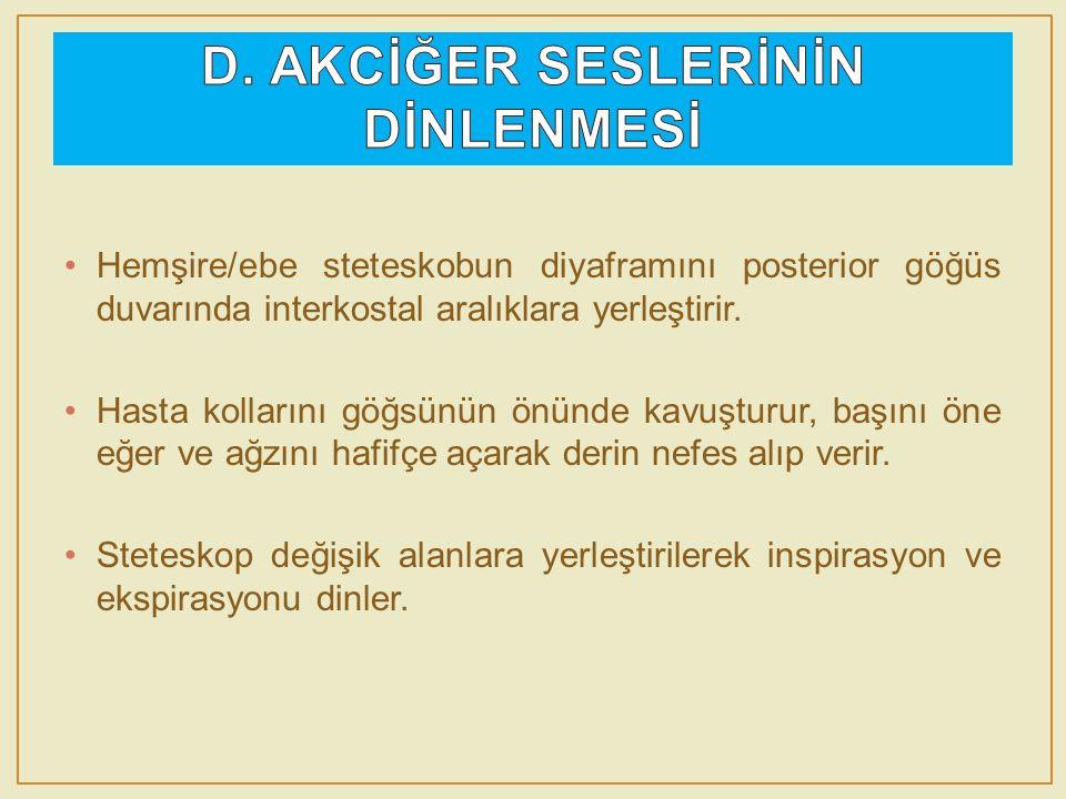 D. AKCİĞER SESLERİNİN DİNLENMESİ