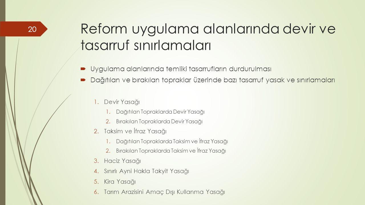 Reform uygulama alanlarında devir ve tasarruf sınırlamaları