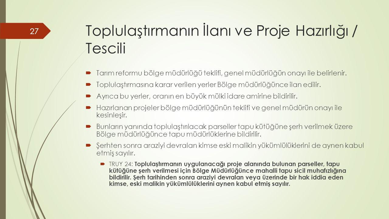 Toplulaştırmanın İlanı ve Proje Hazırlığı / Tescili
