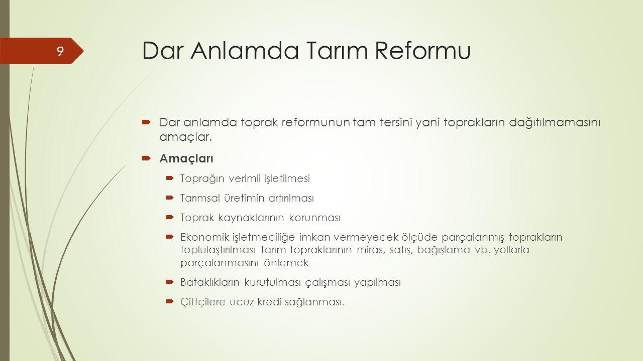 Dar Anlamda Tarım Reformu