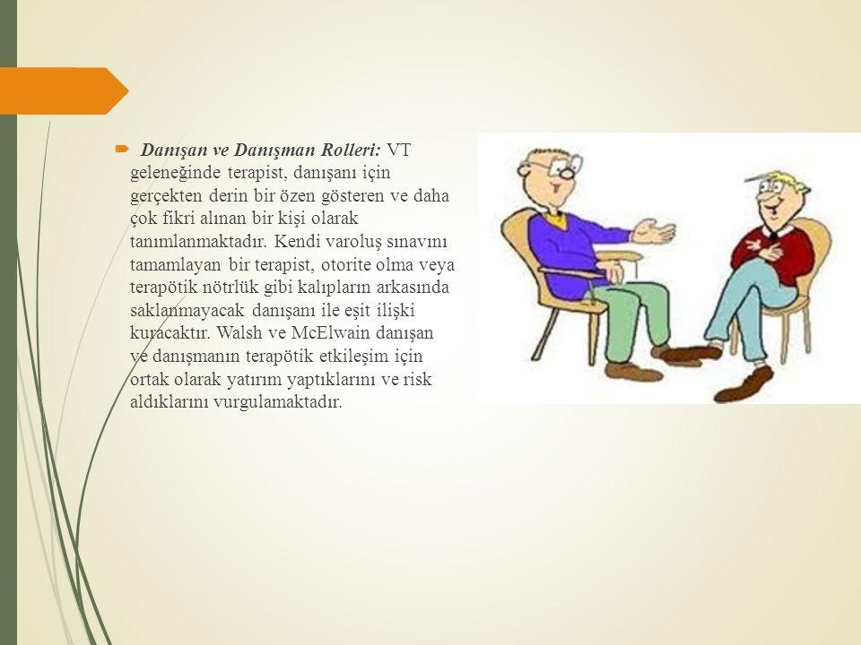 Danışan ve Danışman Rolleri: VT geleneğinde terapist, danışanı için gerçekten derin bir özen gösteren ve daha çok fikri alınan bir kişi olarak tanımlanmaktadır.