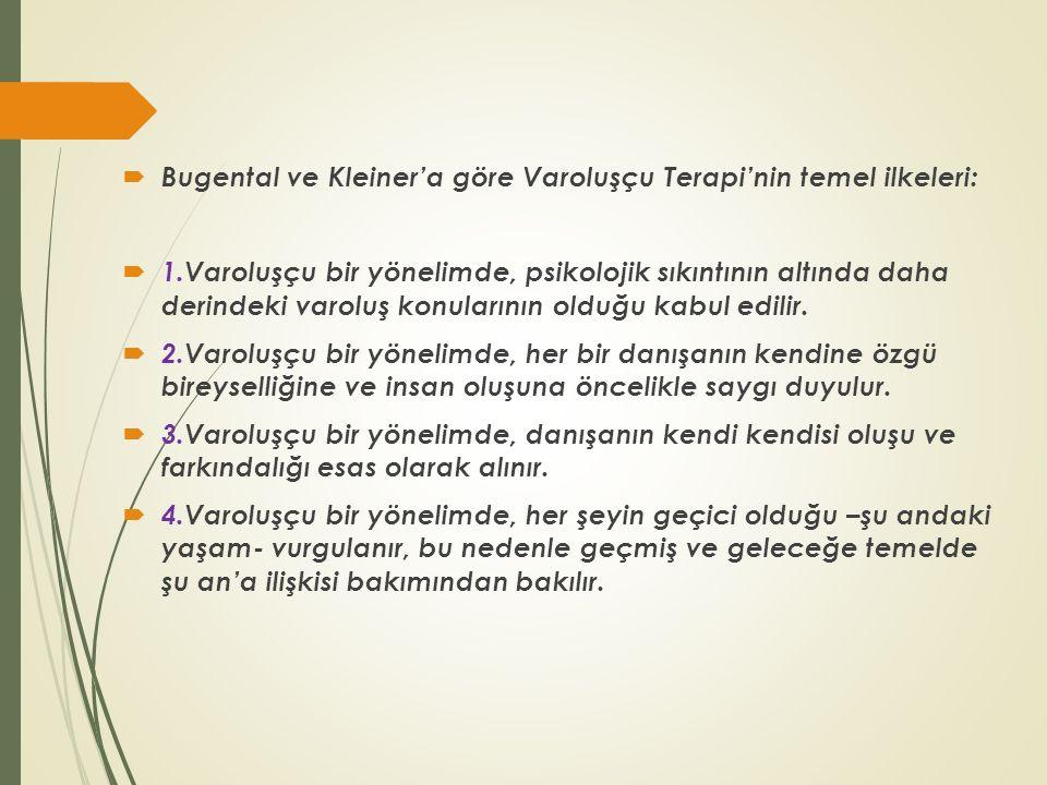 Bugental ve Kleiner'a göre Varoluşçu Terapi'nin temel ilkeleri: