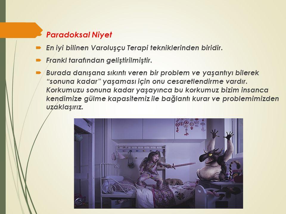 Paradoksal Niyet En iyi bilinen Varoluşçu Terapi tekniklerinden biridir. Frankl tarafından geliştirilmiştir.