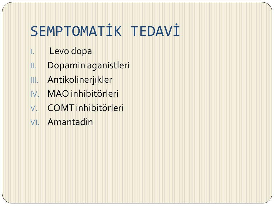 SEMPTOMATİK TEDAVİ Levo dopa Dopamin aganistleri Antikolinerjıkler