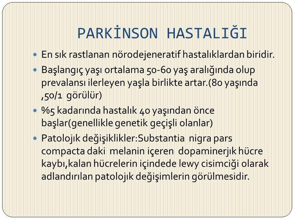 PARKİNSON HASTALIĞI En sık rastlanan nörodejeneratif hastalıklardan biridir.