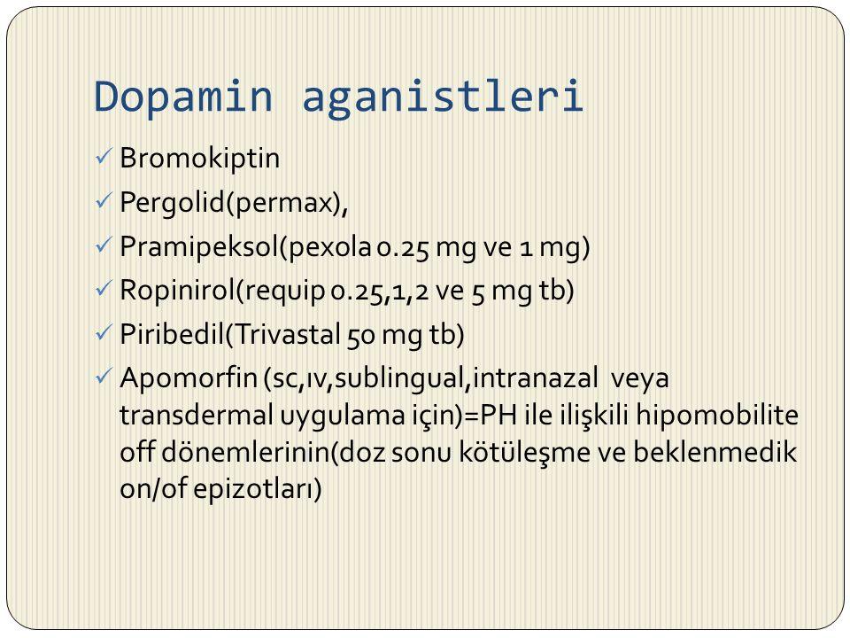 Dopamin aganistleri Bromokiptin Pergolid(permax),
