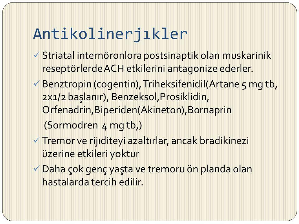 Antikolinerjıkler Striatal internöronlora postsinaptik olan muskarinik reseptörlerde ACH etkilerini antagonize ederler.