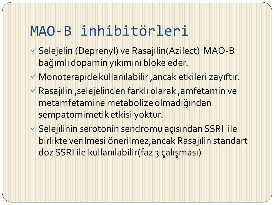 MAO-B inhibitörleri Selejelin (Deprenyl) ve Rasajılin(Azilect) MAO-B bağımlı dopamin yıkımını bloke eder.
