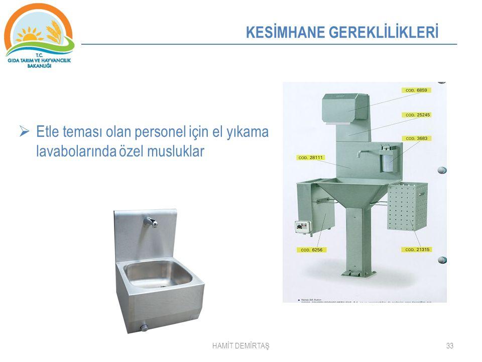 Etle teması olan personel için el yıkama lavabolarında özel musluklar