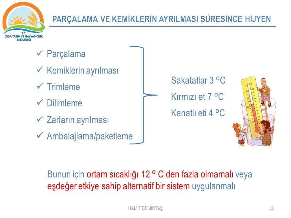 Ambalajlama/paketleme Sakatatlar 3 ⁰C Kırmızı et 7 ⁰C Kanatlı eti 4 ⁰C