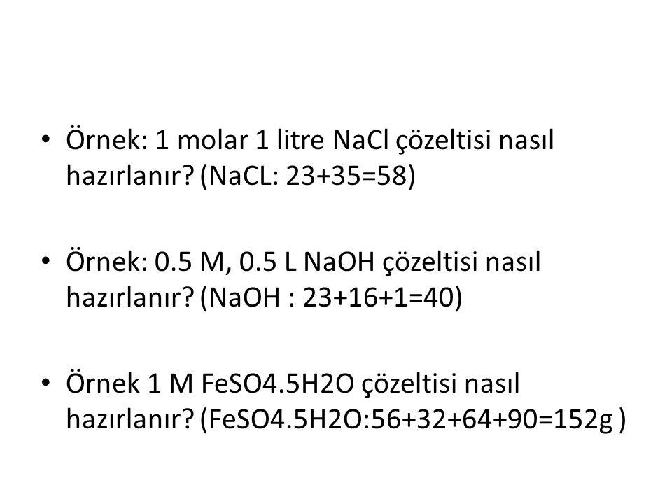 Örnek: 1 molar 1 litre NaCl çözeltisi nasıl hazırlanır