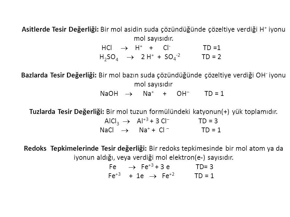 Asitlerde Tesir Değerliği: Bir mol asidin suda çözündüğünde çözeltiye verdiği H+ iyonu mol sayısıdır.