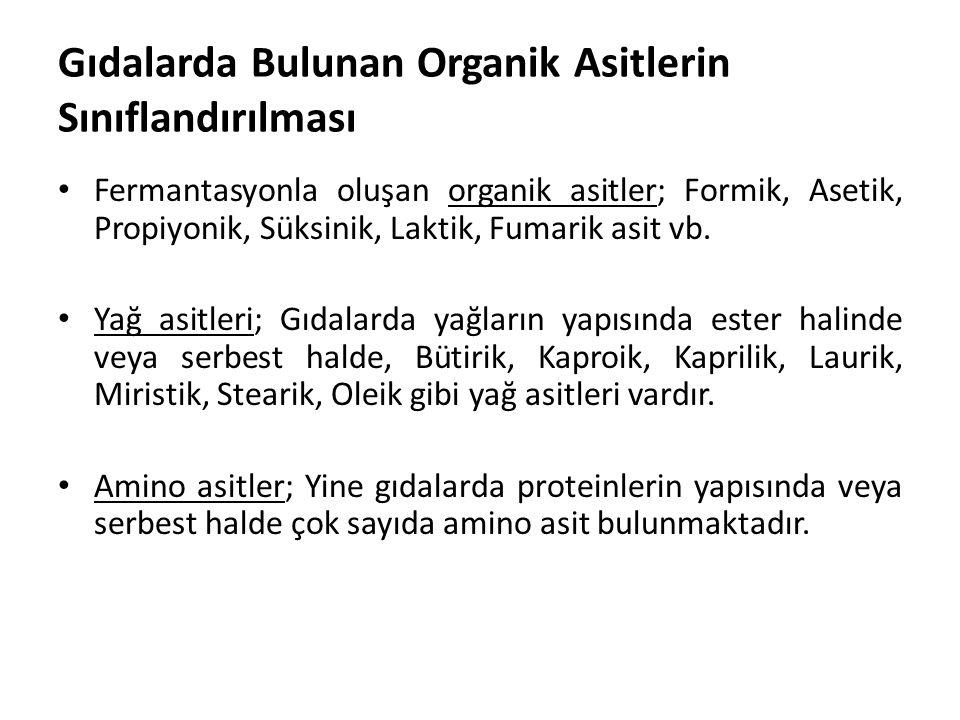 Gıdalarda Bulunan Organik Asitlerin Sınıflandırılması