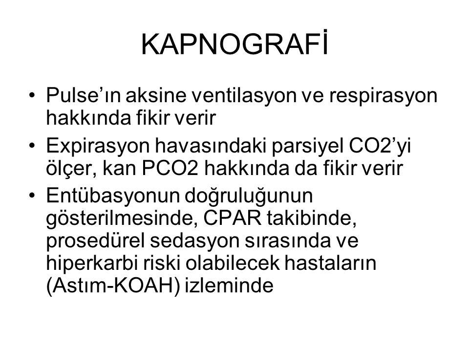 KAPNOGRAFİ Pulse'ın aksine ventilasyon ve respirasyon hakkında fikir verir.