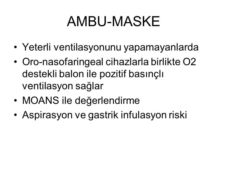 AMBU-MASKE Yeterli ventilasyonunu yapamayanlarda