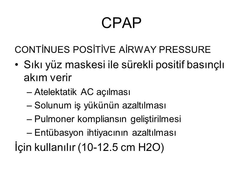 CPAP Sıkı yüz maskesi ile sürekli positif basınçlı akım verir