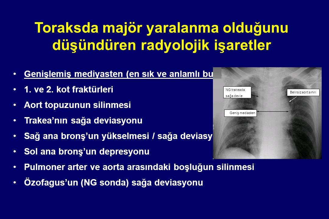 Toraksda majör yaralanma olduğunu düşündüren radyolojik işaretler