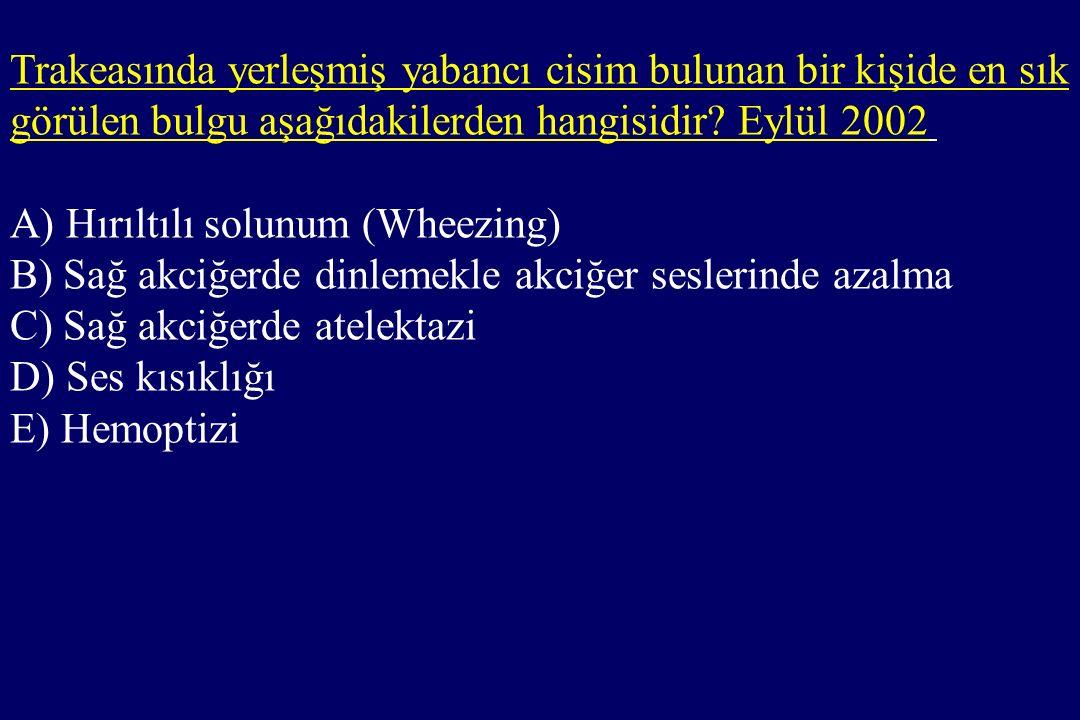 Trakeasında yerleşmiş yabancı cisim bulunan bir kişide en sık görülen bulgu aşağıdakilerden hangisidir.
