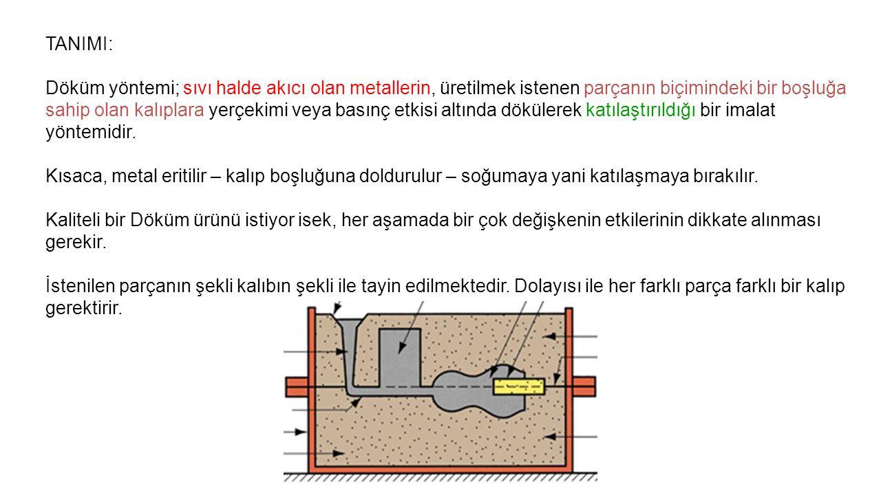 TANIMI: Döküm yöntemi; sıvı halde akıcı olan metallerin, üretilmek istenen parçanın biçimindeki bir boşluğa sahip olan kalıplara yerçekimi veya basınç etkisi altında dökülerek katılaştırıldığı bir imalat yöntemidir.