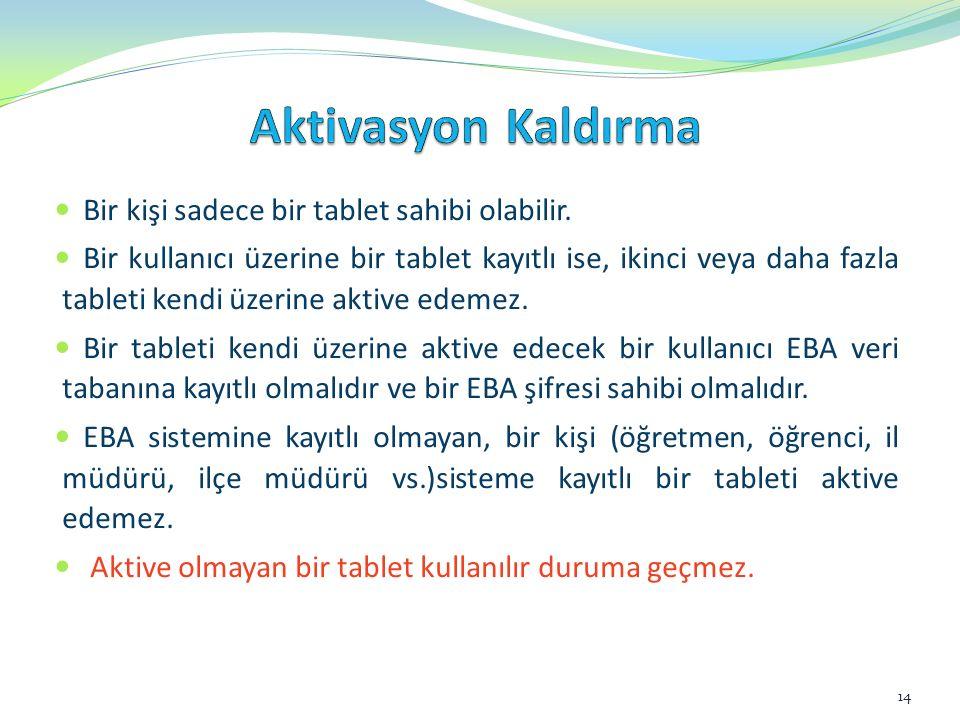 Aktivasyon Kaldırma Bir kişi sadece bir tablet sahibi olabilir.