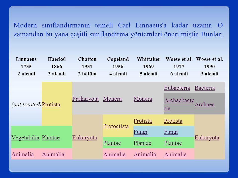 Modern sınıflandırmanın temeli Carl Linnaeus a kadar uzanır