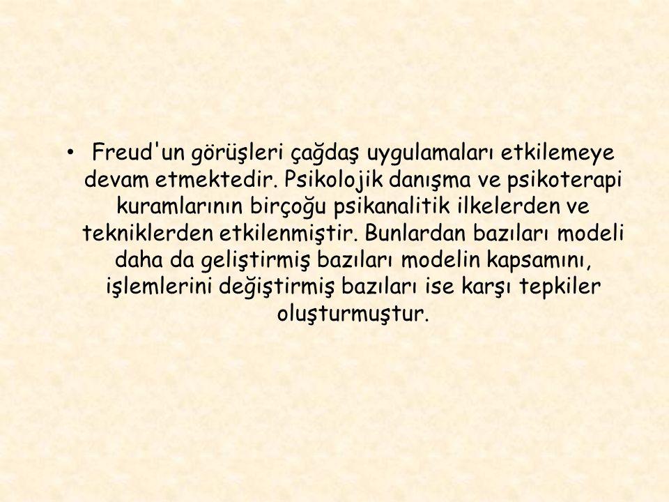 Freud un görüşleri çağdaş uygulamaları etkilemeye devam etmektedir