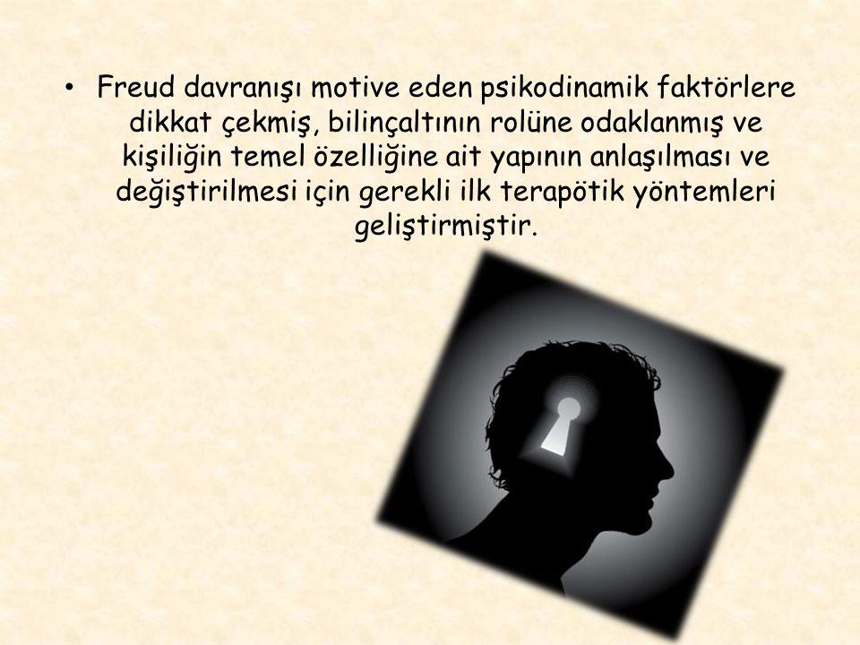 Freud davranışı motive eden psikodinamik faktörlere dikkat çekmiş, bilinçaltının rolüne odaklanmış ve kişiliğin temel özelliğine ait yapının anlaşılması ve değiştirilmesi için gerekli ilk terapötik yöntemleri geliştirmiştir.
