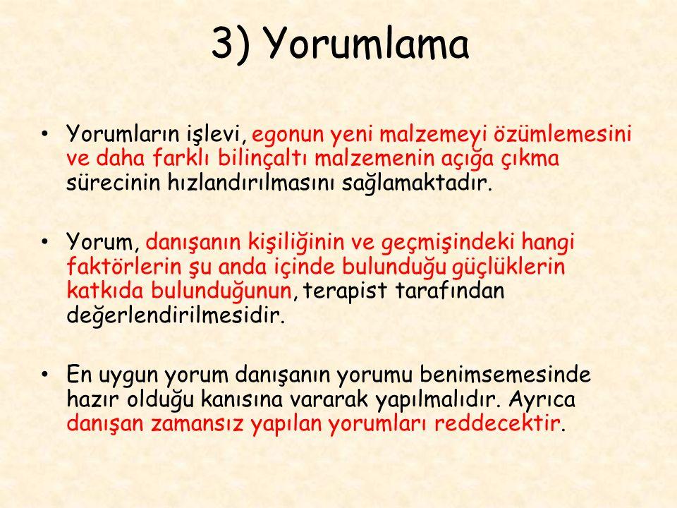 3) Yorumlama
