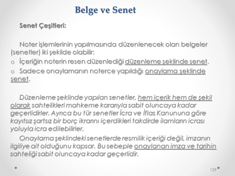 Belge ve Senet Senet Çeşitleri: