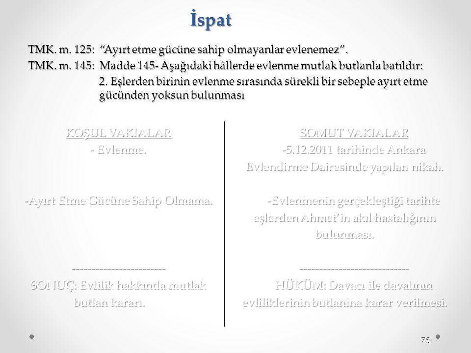 İspat KOŞUL VAKIALAR - Evlenme. -Ayırt Etme Gücüne Sahip Olmama.