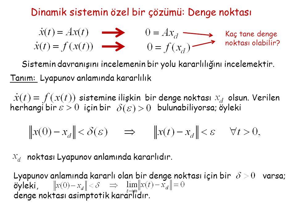 Dinamik sistemin özel bir çözümü: Denge noktası