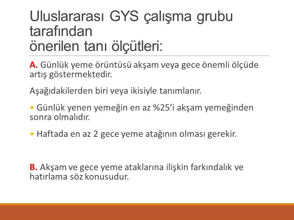 Uluslararası GYS çalışma grubu tarafından önerilen tanı ölçütleri: