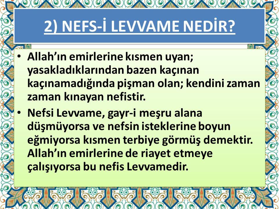 2) NEFS-İ LEVVAME NEDİR