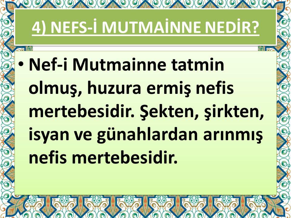 4) NEFS-İ MUTMAİNNE NEDİR