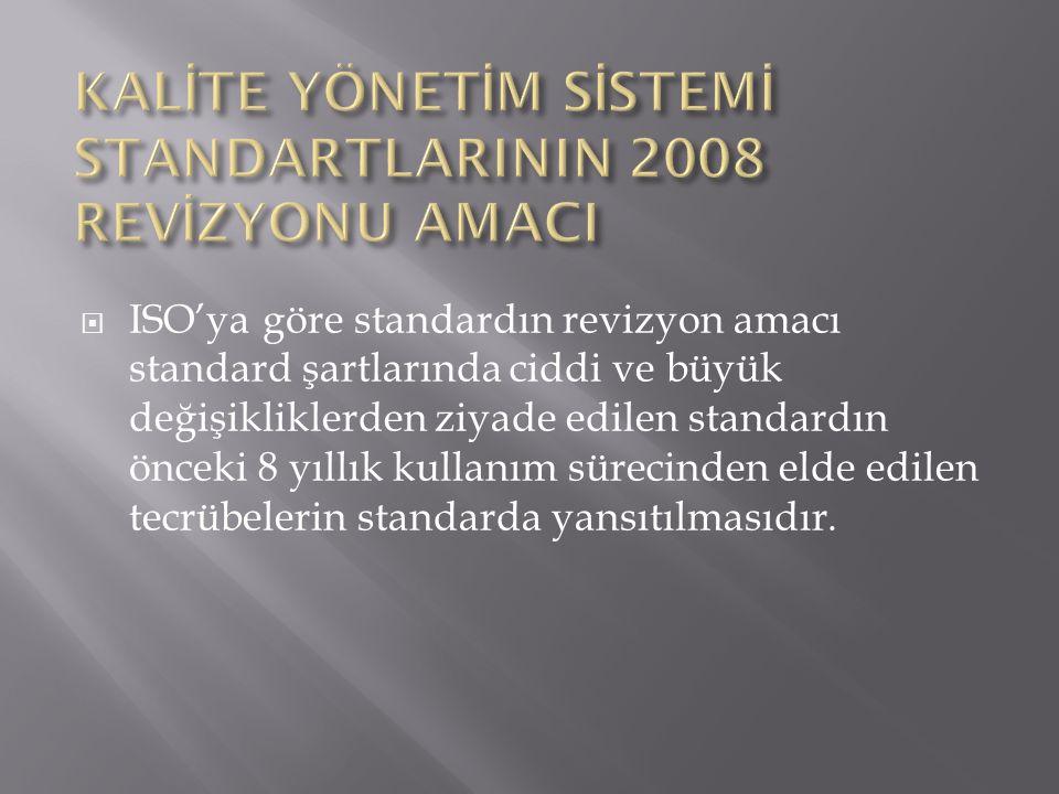 KALİTE YÖNETİM SİSTEMİ STANDARTLARININ 2008 REVİZYONU AMACI