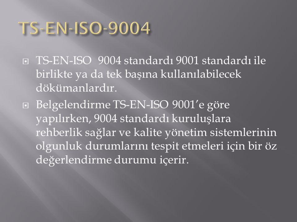 TS-EN-ISO-9004 TS-EN-ISO 9004 standardı 9001 standardı ile birlikte ya da tek başına kullanılabilecek dökümanlardır.