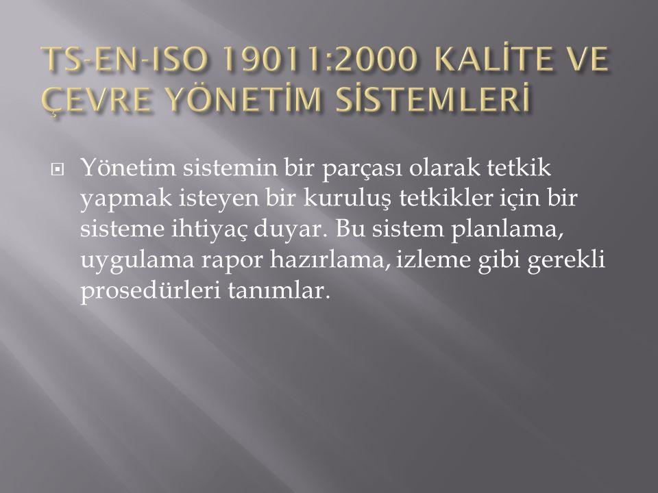 TS-EN-ISO 19011:2000 KALİTE VE ÇEVRE YÖNETİM SİSTEMLERİ